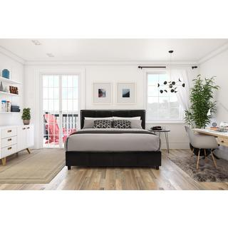 DHP Maddie Dark Brown Faux Leather Upholstered Bed