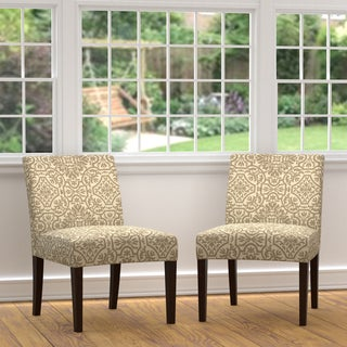 Portfolio Nate Barley Grey Damask Armless Chairs (Set of 2)