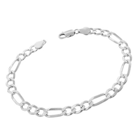 "Authentic Solid Sterling Silver 6.5mm Figaro Link Diamond-Cut Pave .925 ITProLux Bracelet Chain 8"", 8.5"", 9"", Made In Italy"
