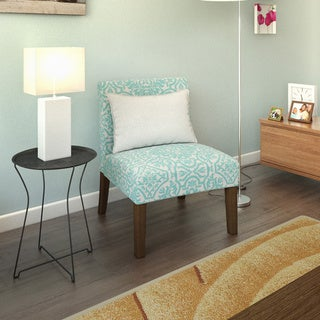 Handy Living Nate Turquoise Blue Damask Armless Chairs (Set of 2)
