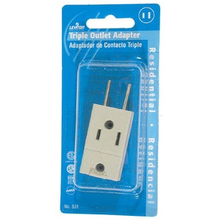 Leviton C21-00531-00I Ivory Cube Triple Tap Plug-In Outlet Adapter
