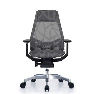 GM Seating Bodylux Smart Black/Grey Mesh Chrome Base with Headrest Genuine Leather Executive Hi Swiv