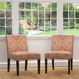 Portfolio Nate Orange Damask Armless Chairs (Set of 2)