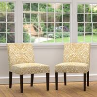 Clay Alder Home Union Golden Yellow Damask Armless Chairs (Set of 2)