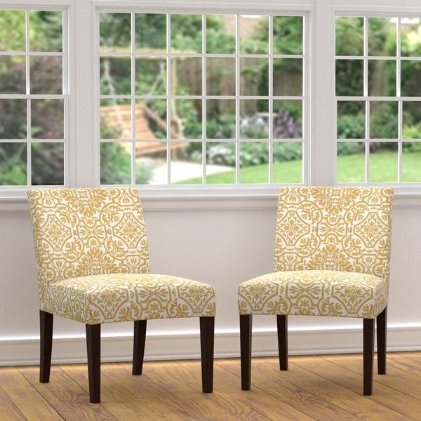 Golden Yellow Accent Chair Living Room: Handy Living Nate Golden Yellow Damask Armless Chairs (Set