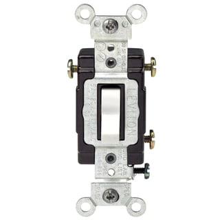 Leviton C22-05503-LHW White 3-Way Lighted Quiet Switch
