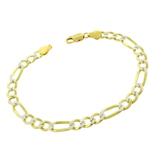 .925 Sterling Silver 6.5mm Solid Figaro Link Diamond Cut Yellow Gold Plated ITProLux Bracelet Chain 9""