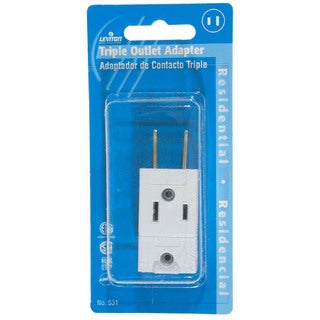 Leviton C22-00531-00W White Cube Triple Tap Plug-In Outlet Adapter