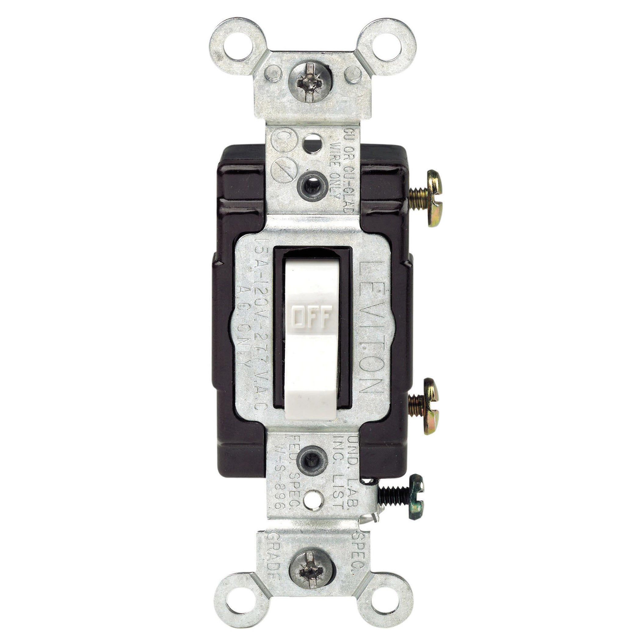 Leviton C22-05501-LHW 15 Amp White Wired Light Toggle Swi...