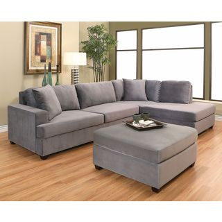 ABBYSON LIVING Vista Grey Velvet Sectional and Ottoman Set