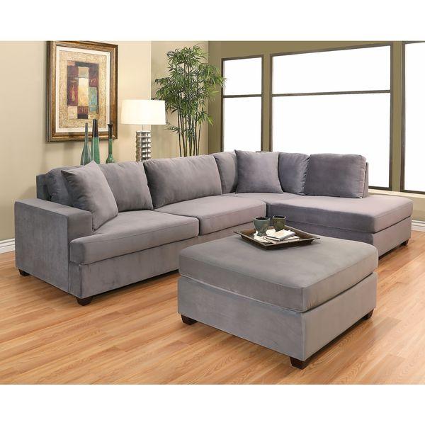 Abbyson Vista Grey Velvet Sectional and Ottoman Set