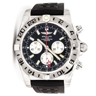 Breitling Men's AB0413B9-BD17RU 'Chronomat GMT' Chronograph Automatic Black Rubber Watch