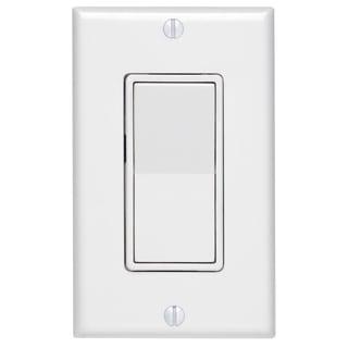 Leviton C24-05673-02W White 3-Way Decora Rocker Switch With Wall Plate