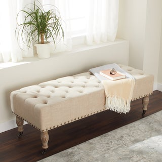 Link to Abbyson French Vintage Tufted Wheat Linen Rectangle Ottoman Bench Similar Items in Ottomans & Storage Ottomans