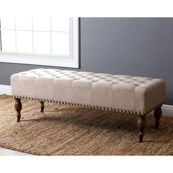 Abbyson French Vintage Wheat Linen Rectangle Ottoman Bench