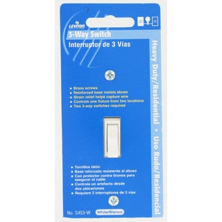 Leviton C24-0S453-00W White Residential Grade 3-Way AC Quiet Switch Toggle