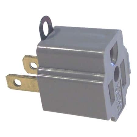 Leviton C30-00274-2 2 Pack Gray Single Tap Plug-In Outlet Adapter