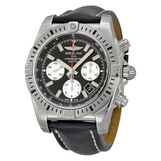 Breitling Men's AB01154G-BD13LS 'Chronomat 44 Airborn' Chronograph Automatic Black Leather Watch