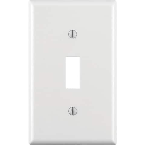 Leviton M24-88001-000 Single Gang White Single Toggle Wallplate 10 Pack