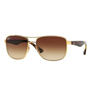 Ray-Ban Men's RB3533 Gold Metal Square Sunglasses