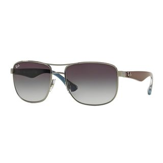 Ray-Ban Men's RB3533 Silver Metal Square Sunglasses
