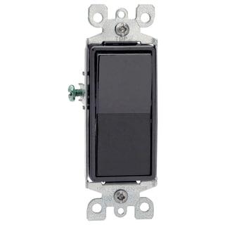 Leviton R45-5603-2E Black Residential Grade Decora 3-Way AC Quiet Switch Rocker