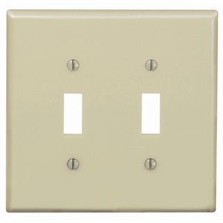 Leviton R51-00PJ2-00I 2-Gang Midway Size Ivory Toggle Device Wall Plate
