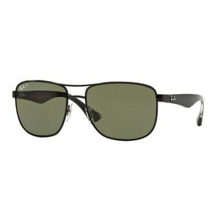 Ray-Ban Men's RB3533 Black Metal Square Polarized Sunglasses