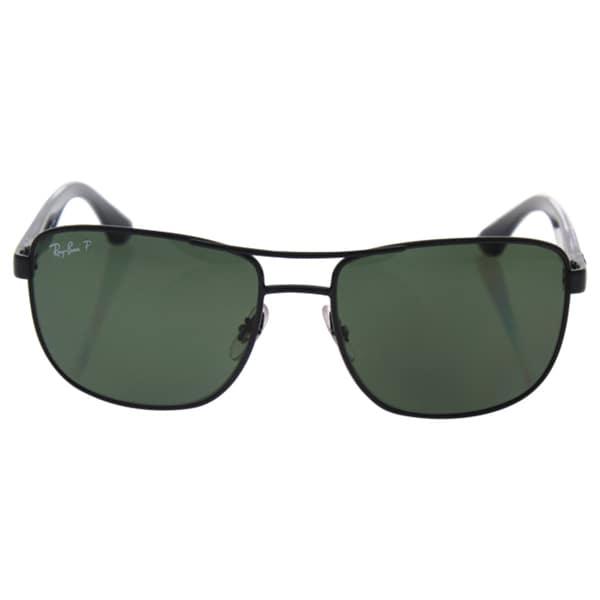 6c58ffe761e1e Shop Ray-Ban Men s RB3533 Black Metal Square Polarized Sunglasses ...