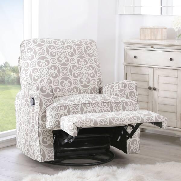 Miraculous Shop Abbyson Luca Grey Floral Swivel Glider Recliner Chair Machost Co Dining Chair Design Ideas Machostcouk