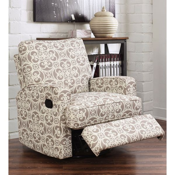 Shop Abbyson Luca Grey Floral Swivel Glider Recliner Chair