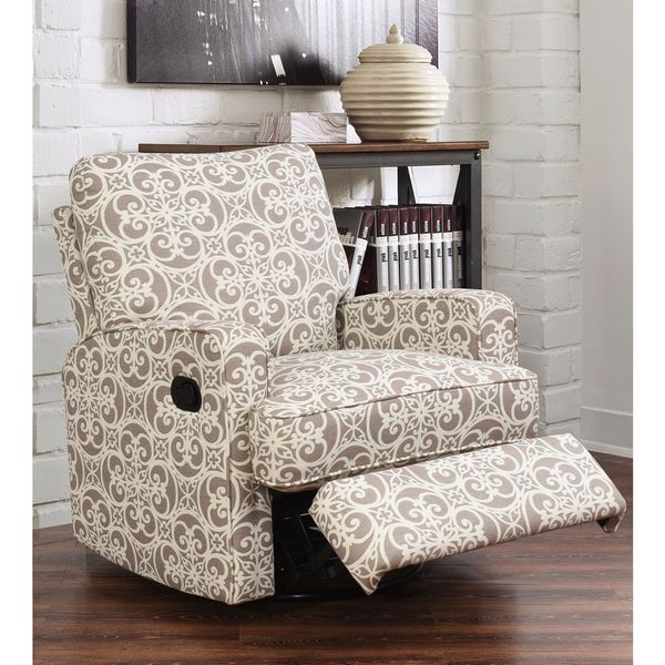 Abbyson Luca Grey Floral Swivel Glider Recliner Chair Free Shipping Today Overstock 19196177