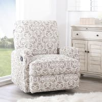 Abbyson Luca Grey Floral Swivel Glider Recliner Chair