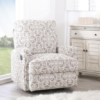 Abbyson Luca Grey/Off-white Wood/Foam Floral Swivel Glider Recliner Chair
