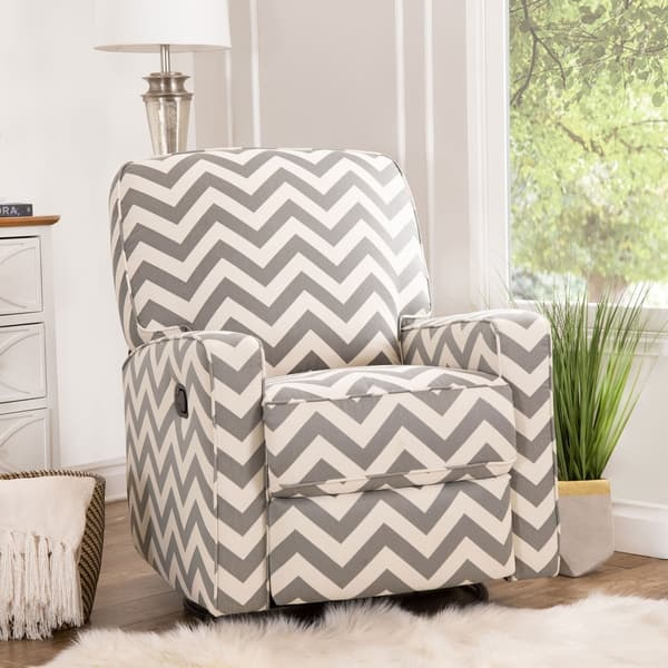 Wondrous Shop Abbyson Bella Grey Chevron Fabric Reclining Swivel Gmtry Best Dining Table And Chair Ideas Images Gmtryco