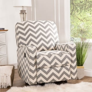 Abbyson Bella Grey Chevron Fabric Reclining Swivel Glider