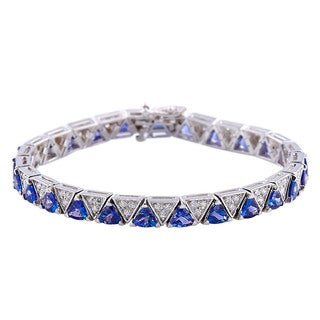 14k White Gold 7-inch Tanzanite and Diamond Bracelet
