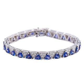 14k White Gold 7-inch Tanzanite and Diamond Bracelet