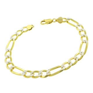 .925 Sterling Silver 8.5mm Solid Figaro Link Diamond Cut Yellow Gold Plated ITProLux Bracelet Chain 9.5""