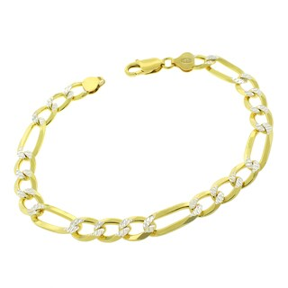 """Sterling Silver Italian 8.5mm Figaro Link Diamond Cut Two-Tone Solid 925 Yellow Gold Bracelet Chain 9"""""""