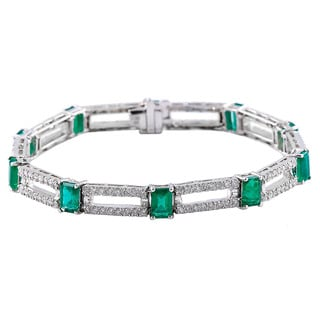 14k White Gold 7-inch Emerald and Diamond Bracelet