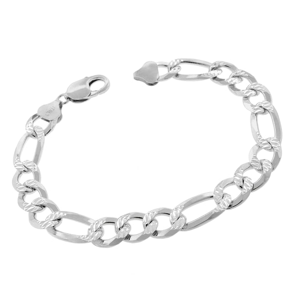 8eaecba76e365 Authentic Solid Sterling Silver 10.5mm Figaro Link Diamond-Cut Pave .925  ITProLux Bracelet Chain 8.5