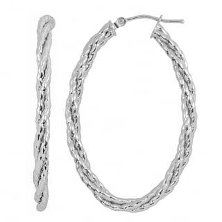Fremada Italian 14k White Gold Bold Braided Oval Hoop Earrings
