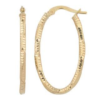 Fremada Italian 14k Yellow Gold Stunning Oval Hoop Earrings, 1-inch
