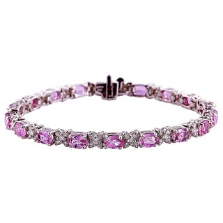 14k White Gold 7-inch Pink Sapphire and Diamond Bracelet