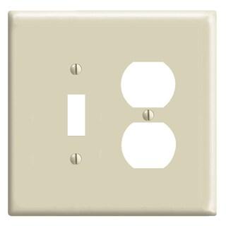 Leviton R51-0PJ18-00I 2-Gang Ivory 1 Toggle 1 Duplex Device Wall Plate