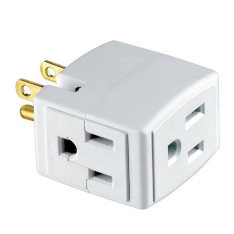 Leviton R54-00692-00W 15 Amp, 125 Volt White Triple Cube Grounding Adapter