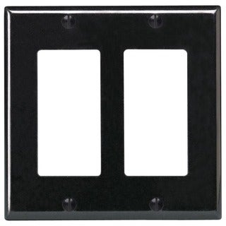 Leviton R55-PJ262-00E 2 Gang Black Decora Wallplate