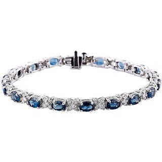 14k White Gold 7-inch Blue Sapphire and Diamond Bracelet