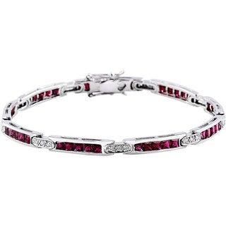 14k White Gold 7-inch Ruby and Diamond Bracelet